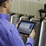 culligan water expert looking at tablet