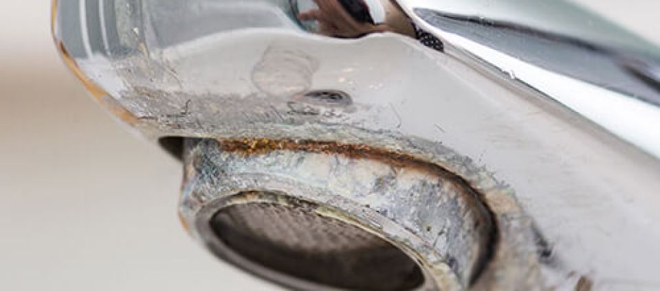 hard water buildup on a faucet