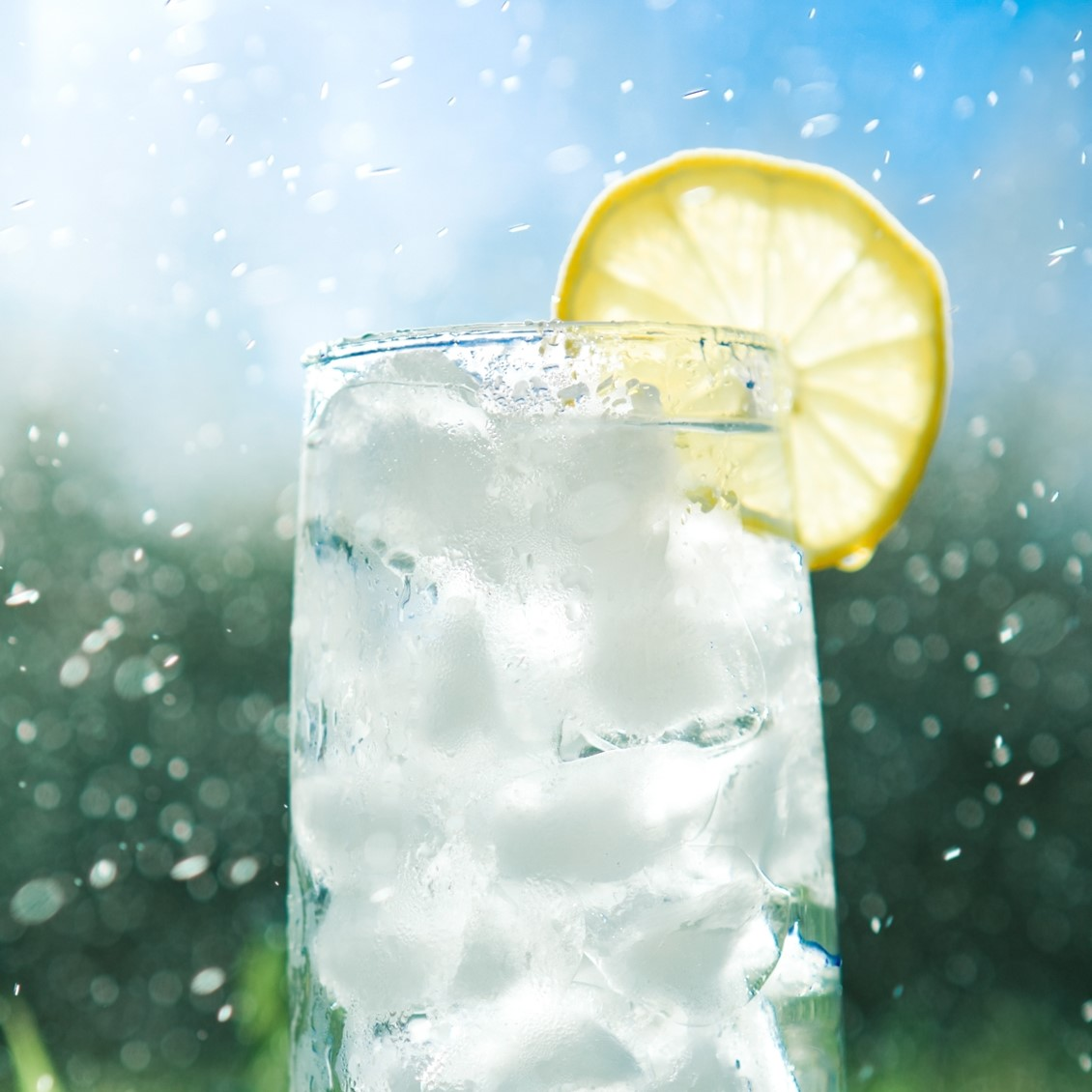 cold glass of lemon water